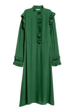 Frill-trimmed dress - Dark green - Ladies | H&M CN 2