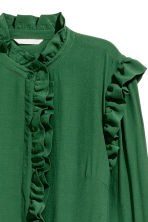 Frill-trimmed dress - Dark green - Ladies | H&M CN 3