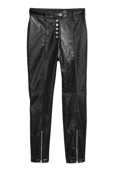 Coated stretch trousers - Black/Coated - Ladies | H&M CN