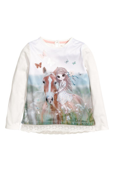 Lace-trimmed jersey top - White/Horse - Kids | H&M GB