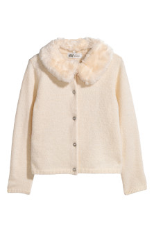 Cardigan with faux fur collar