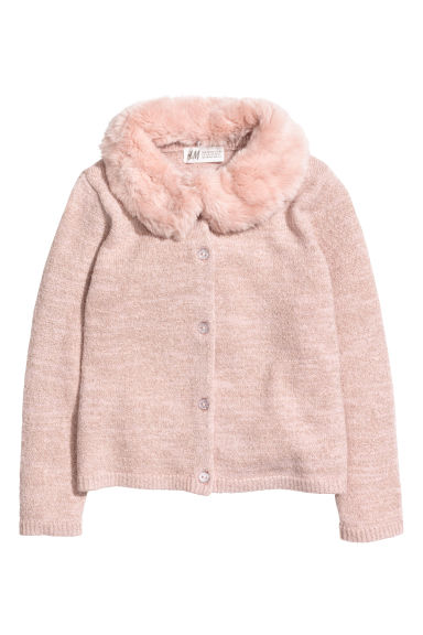 Cardigan with faux fur collar - Light pink/Gold-coloured - Kids | H&M CN