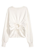 Sweatshirt with an opening - White - Ladies | H&M 3