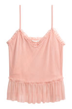 Frill-trimmed mesh strappy top - Light pink - Ladies | H&M CN 2