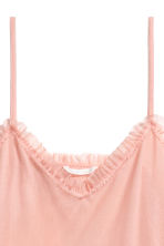 Frill-trimmed mesh strappy top - Light pink - Ladies | H&M CN 3