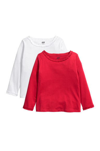 2-pack frilled jersey tops - Red/White -  | H&M CN