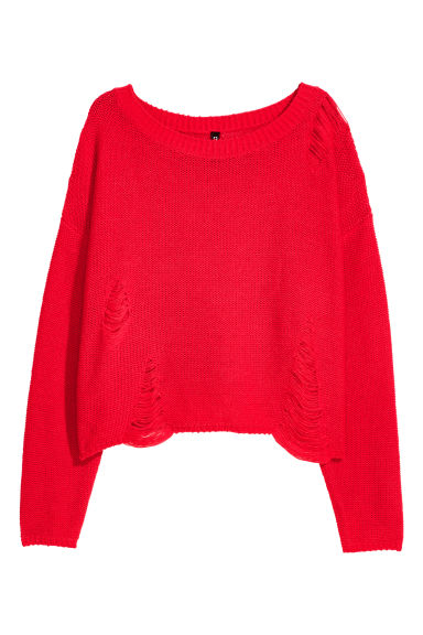 Trashed jumper - Bright red - Ladies | H&M GB