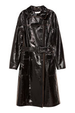 Double-breasted leather coat - Black - Ladies | H&M 2