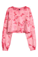 Cropped sweatshirt - Pink/Batik - Ladies | H&M 2