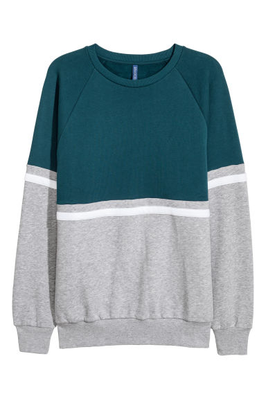 Block-coloured sweatshirt - Petrol/Grey marl - Men | H&M IE