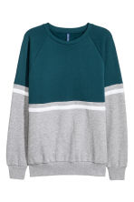 Block-coloured sweatshirt - Petrol/Grey marl - Men | H&M IE 2