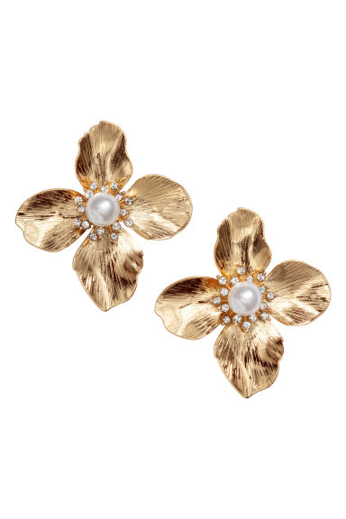 Flower-shaped earrings - Gold-coloured - Ladies | H&M 1
