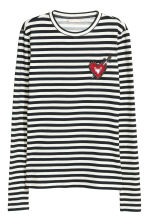 Jersey top with beaded detail - Dark blue/White striped - Ladies | H&M CN 2