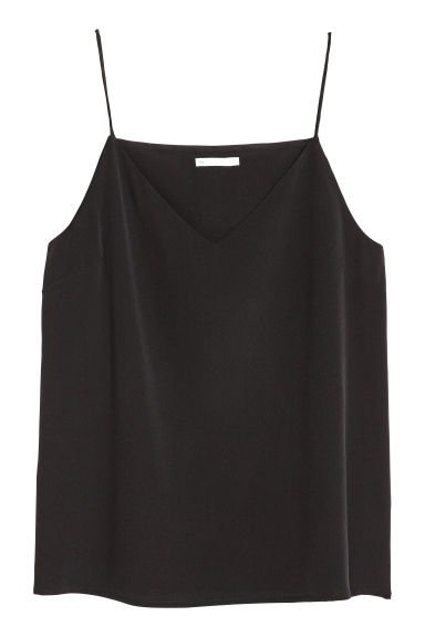 Silk strappy top - Black - Ladies | H&M CN