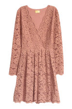 Lace V-neck dress - Dark powder pink - Ladies | H&M 2