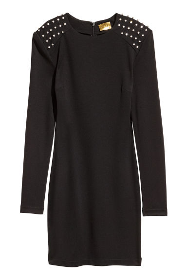 Fitted dress - Black/Sparkly stones - Ladies | H&M