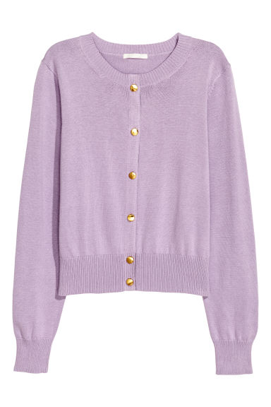 Fine-knit cotton cardigan - Light purple - Ladies | H&M