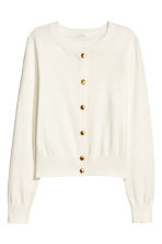 Fine-knit cotton cardigan - Natural white - Ladies | H&M 2