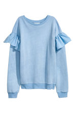 Sweatshirt with flounces - Light blue - Ladies | H&M CN 2