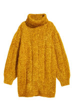 Knitted polo-neck dress - Gold-coloured - Ladies | H&M 2