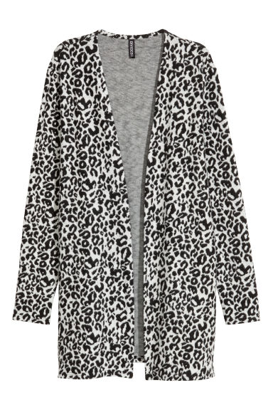 Jacquard-knit cardigan - Light grey/Leopard print - Ladies | H&M CN 1