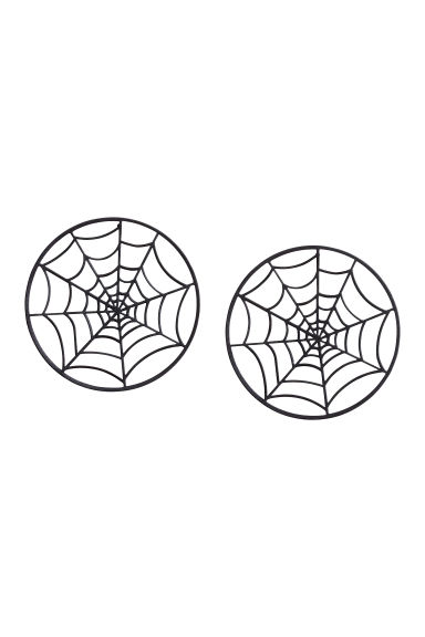 Cobweb-shaped earrings - Black - Ladies | H&M 1