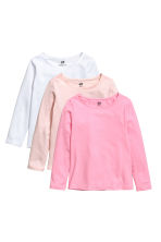 3-pack long-sleeved tops - Pink/White - Kids | H&M CN 2