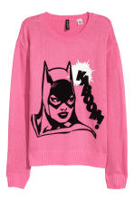 Fine-knit jumper - Pink/Batgirl - Ladies | H&M CN 2