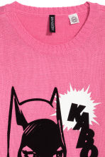 Fine-knit jumper - Pink/Batgirl - Ladies | H&M CN 3