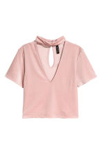 V-neck velvet top - Light pink - Ladies | H&M CN 2