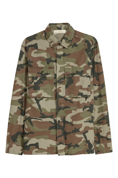 Patterned shirt jacket - Khaki green/Patterned -  | H&M