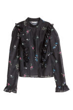 Puff-sleeved frilled blouse - Black/Floral - Ladies | H&M CN 2