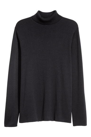 Cotton-blend polo-neck jumper - Dark blue -  | H&M GB