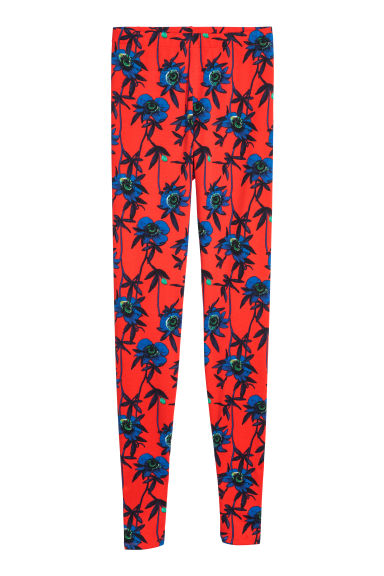Patterned leggings - Red/Floral - Ladies | H&M GB
