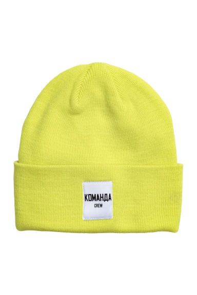 Fine-knit hat - Neon green -  | H&M
