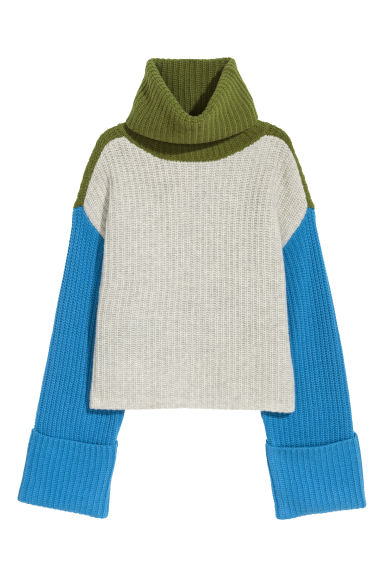 Wide polo-neck jumper - Grey/Green/Blue - Ladies | H&M