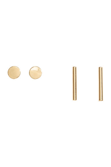 2 pairs gold-plated studs - Gold-coloured - Ladies | H&M