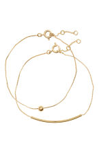 2-pack gold-plated bracelets - Gold-coloured - Ladies | H&M CN 1