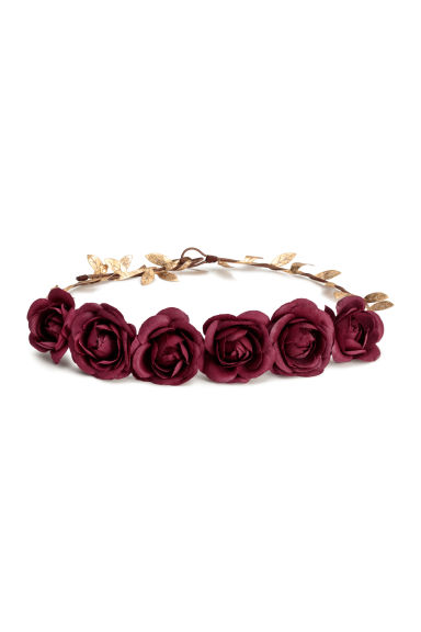 Hair decoration with flowers - Burgundy/Gold-coloured - Ladies | H&M