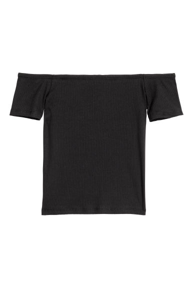 Ribbed off-the-shoulder top - Black - Ladies | H&M 1