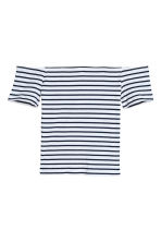 羅紋露肩上衣 - Dark blue/White striped - Ladies | H&M 1