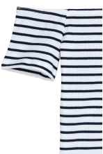 羅紋露肩上衣 - Dark blue/White striped - Ladies | H&M 2