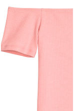 Ribbed off-the-shoulder top - Light pink - Ladies | H&M 2