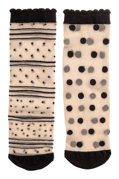 2-pack spotted socks - Beige/Spots - Ladies | H&M 1
