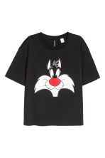 Wide T-shirt - Black/Looney Tunes - Ladies | H&M 1