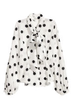 Tie-front blouse - White/Black spotted - Ladies | H&M 2