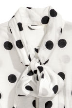 Tie-front blouse - White/Black spotted - Ladies | H&M GB 3