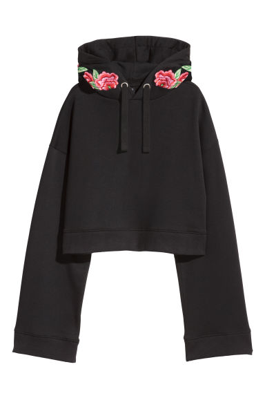 Short embroidered sweatshirt - Black - Ladies | H&M GB
