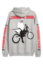 Printed hooded top - Grey marl/Bieber - Men | H&M 2