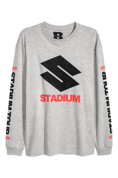 Long-sleeved top - Grey marl/Stadium - Men | H&M 1